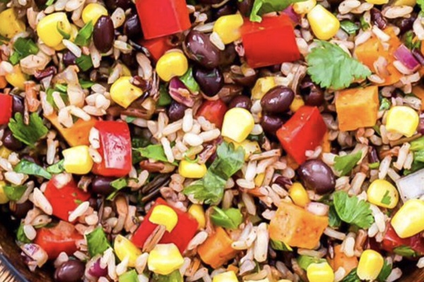 Mexican corn and rice salad