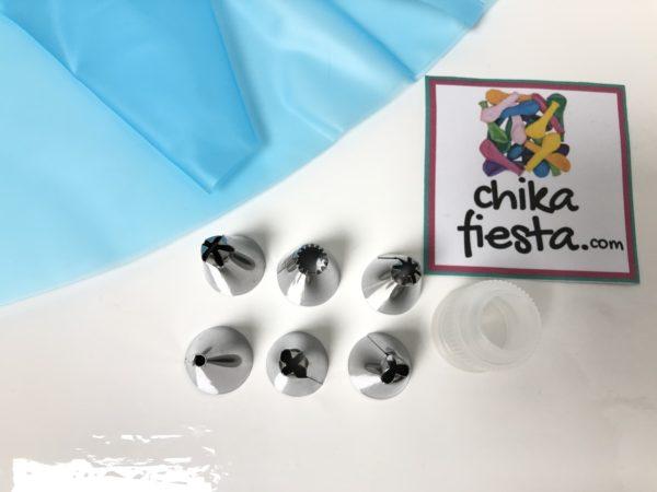 Set para decoración de pasteles manga de silicon azul, 6 duyas y cople