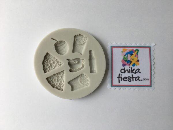 Molde de silicon figuras de cafetería comida